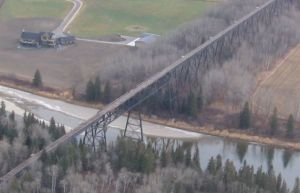 The Alberta Central Railway steel trestle across the Red Deer River