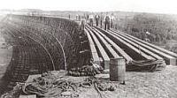 CNWR wooden trestle under construction 1911