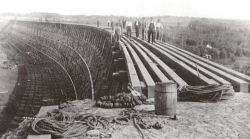 construction of Blindman River wooden trestle 1911-12