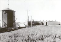 CPR Red Deer roundhouse and water tower 1912