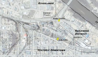 Red Deer railyards overlaid on current downtown
