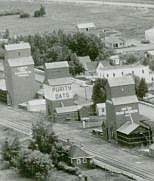 CPR station and grain elevators Penhold 1948