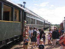 passenger boarding railway excursion at Stettler