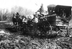 crude stage coach on C & E Trail circa 1885