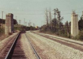 ACR piers in Red Deer 1985 prior to rail relocation and Taylor Drive